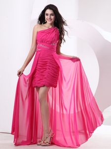 High-low Hot Pink Chiffon Evening Cocktail Dress with Ruches Idaho