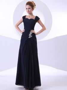 Navy Blue Evening Cocktail Dress with Appliques and Straps Kansas