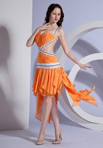 Beaded Cocktail Party Dress with Ruffles and Asymmetrical Bottom