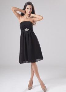 Black Beaded Strapless Chiffon Cocktail Dress For Prom Maryland