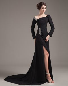 Off The Shoulder Black Chiffon Cocktail Dress with a High Slit Ohio
