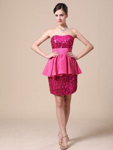 Fuchsia Strapless Cocktail Dress in Taffeta and Shinning Fabric Vermont
