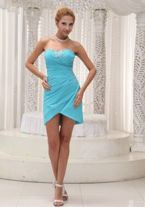 Georgia Aqua Blue Chiffon Prom Cocktail Dress with Asymmetric Bottom