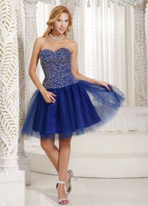 Sweetheart Beaded Peacock Blue Wedding Cocktail Party Dress Indiana