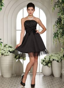 Beaded Black Cocktail Reception Dress with Hand Made Flowers Kansas