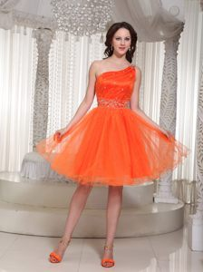 Organza Orange One Shoulder Cocktail Dress For Prom with Beading