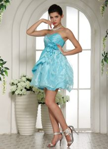 Aqua Blue Beaded Cocktail Party Dress with Hand Made Flowers Iowa