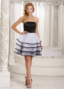 Strapless Black and White Cocktail Party Dress with Ruffled Layers