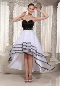 Organza Black and White High-low Prom Cocktail Dress in Mississippi