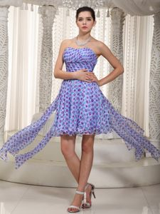High-low Ruched Prom Cocktail Dress in Polka Printed Fabric Maine