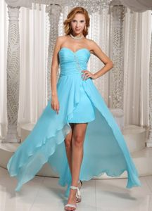 Ruched Sweetheart Blue High-low Homecoming Cocktail Dress Illinois