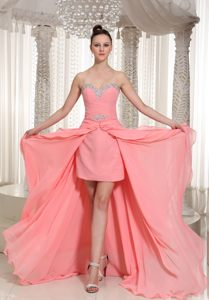 Watermelon Chiffon Beaded High-low Homecoming Cocktail Dress Maine