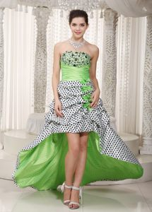 Sexy Beaded Spring Green High-low Cocktail Dress in Polka Print Fabric
