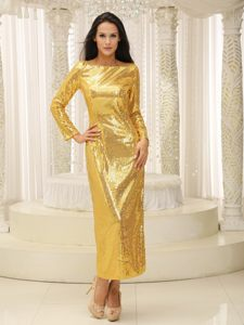 Gold Ankle-length Cocktail Party Dress with Long Sleeves Louisiana