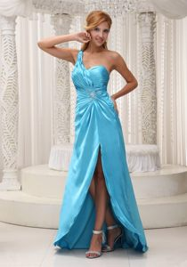 Ruched Aqua Blue One Shoulder Prom Cocktail Dress with a High Slit
