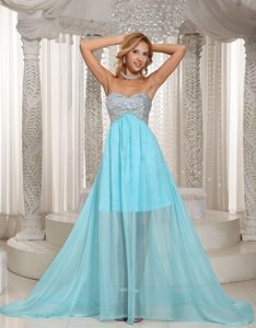 Beaded Sweetheart Aqua Blue Cocktail Dress with a Brush Train Kansas