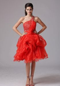 Beaded Red One Shoulder Organza Cocktail Dress For Prom West Virginia