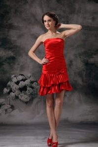 Ruched Taffeta Red Prom Cocktail Dress with a Ruffled Bottom Texas