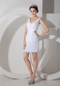 Simple V-neck White Cocktail Dress For Prom in Lace Out Layer Vermont