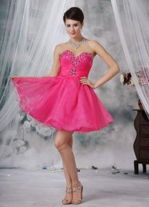 Hot Pink Organza Sweetheart Mini-length Cocktail Dress For Prom Texas