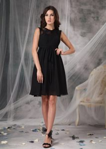 Black Chiffon Knee-length Cocktail Dress For Prom with Straps Oregon