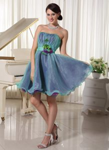 Ruched Organza Strapless Blue Homecoming Cocktail Dress Pennsylvania
