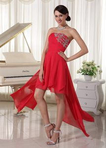Red Chiffon High-low Cocktail Dress For Prom with Beading Oklahoma