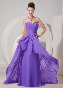 Ruched Lavender Cocktail Party Dress with a Sweep Brush Train Nevada