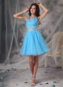 Aqua Blue Beaded V-neck Homecoming Cocktail Dress in Tulle Montana
