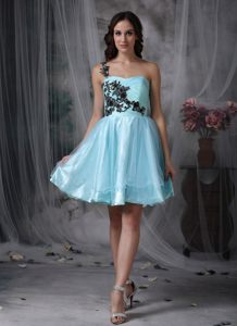 One Shoulder Aqua Blue Organza Cocktail Dress with Appliques Missouri