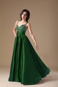 Dark Green Beaded Cocktail Dress For Prom with Straps in Michigan