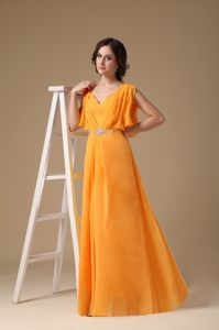 Chiffon Orange V-neck Evening Cocktail Dress with Straps in Hawaii