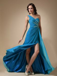 Chiffon Aqua Blue One Shoulder Evening Cocktail Dress Massachusetts