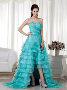 Organza Turquoise Sweetheart Prom Cocktail Dress with a Brush Train