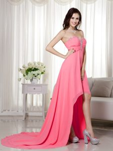 Watermelon Chiffon High-low Cocktail Dress For Prom with Beading