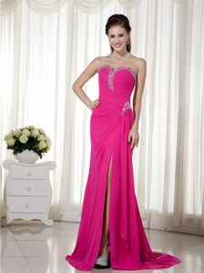 Hot Pink Chiffon Sweetheart Prom Cocktail Dress with a Brush Train