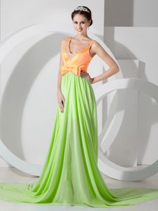 V-neck Chiffon Spring Green and Orange Prom Cocktail Dress Hawaii