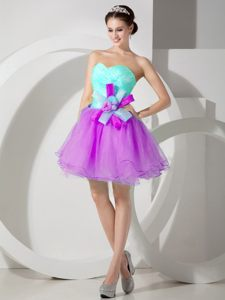 Apple Green and Purple Organza Homecoming Cocktail Dress Hawaii