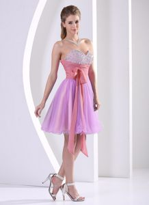 Sweetheart Beaded Homecoming Cocktail Dress with Sash Colorado