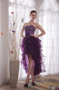 Beaded Sweetheart Purple High-low Cocktail Party Dress in Organza