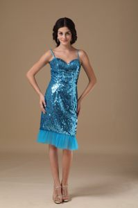 Teal Prom Cocktail Dress with Straps in Shinning Fabric Cairns QLD