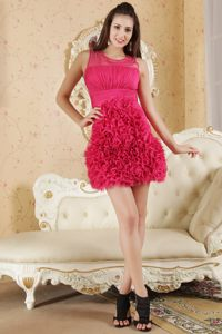 2014 Hot Pink Scoop Cocktail Dress with Rosettes in Providence USA