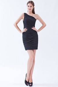 Black One Shoulder Mini-length Black Cocktail Dress in Oklahoma USA
