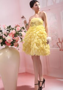 Yellow Knee-length Ruffles Homecoming Cocktail Dress in Raleigh USA