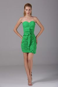 Spring Green Short Ruched Cocktail Dress For Prom in St.Paul USA