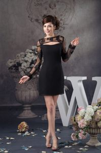 Black Lace Dress For Cocktail Party with Long Sleeve in Augusta USA