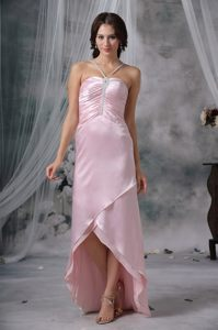 Pink Sheath Straps High-low Cocktail Dress For Prom in Hartford USA