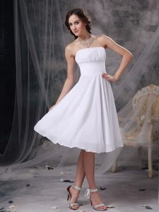 White A-line Strapless Knee-length Cocktail Dress in Montgomery USA