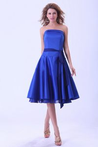 Royal Blue Sash Tea-length Satin Cocktail Party Dresses in Largo