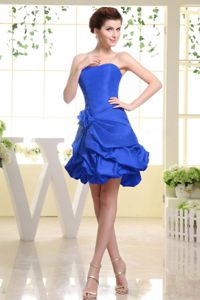 Royal Blue Pick-ups Strapless Evening Cocktail Dress in Monterey